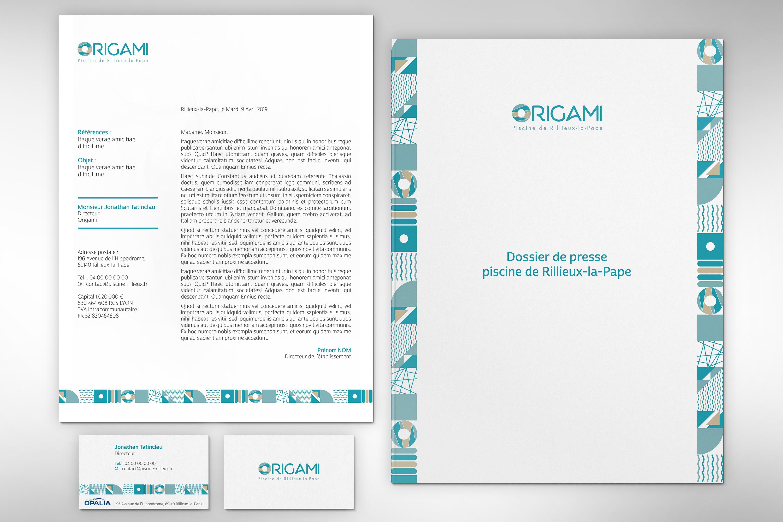 identité visuelle piscine Origami
